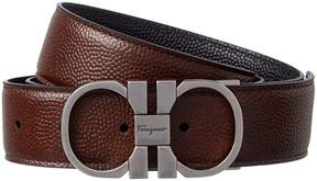 Salvatore Ferragamo Double Gancio Buckle Reversible Leather Belt