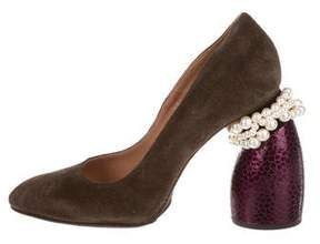 Dries Van Noten Faux Pearl-Embellished Suede Pumps