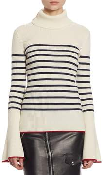 Each X Other Women's Stripe Turtleneck Cotton Bell-Sleeve Sweater