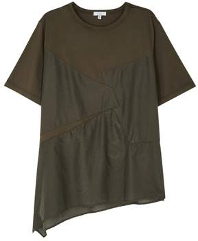 Clu Olive Panelled Jersey T-shirt