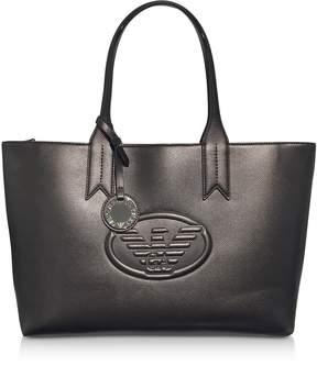 Emporio Armani Dark Gray/Steel Embossed Logo Large Tote Bag