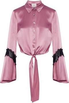 Cinq à Sept Genevieve Tie-Front Chantilly Lace-Trimmed Silk-Satin Shirt
