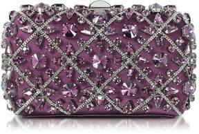 Rodo Purple Silk Tresor Clutch w/Crystals