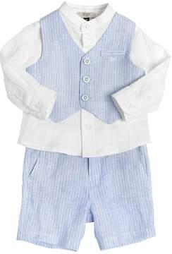 Armani Junior Striped Linen Shirt, Vest & Shorts