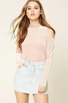 Forever 21 Lace-Up Denim Mini Skirt