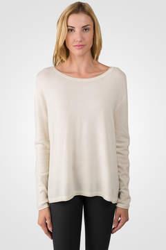 J CASHMERE Cream Cashmere High Low Sweater
