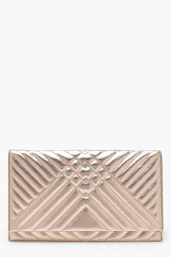 boohoo Mia Metallic Mixed Quilt Clutch