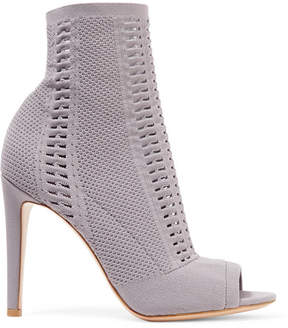 Gianvito Rossi Vires 105 Peep-toe Perforated Stretch-knit Ankle Boots - Dark gray