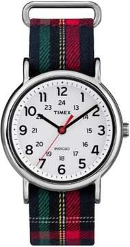 Timex Women's Weekender Blue Plaid Watch, Fabric Slip-Thru Strap