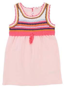 Billieblush Jersey Dress w/ Crochet Yoke, Size 4-8