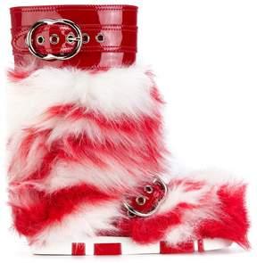 Miu Miu striped shearling fur boots