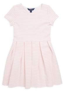Ralph Lauren Little Girl's& Girl's Stripe Pleated Ponte Dress