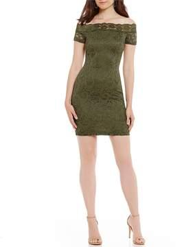 B. Darlin Off-The-Shoulder Lace Sheath Dress