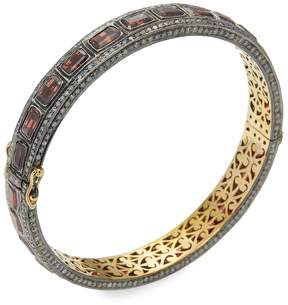 Artisan Women's Garnet & Diamond Bangle Bracelet