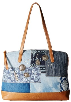 American West - Indigo Zip Top Satchel Tote Tote Handbags