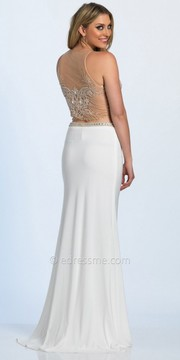 Dave and Johnny Dazzling Embellished Illusion Two Piece Prom Dress