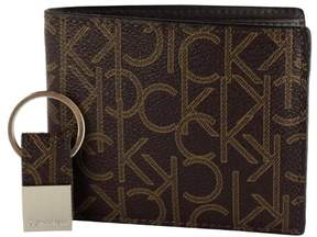 Calvin Klein Leather Bifold Wallet and Key Fob Set-Brown