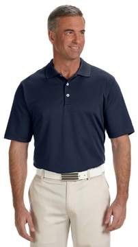 adidas A170 Mens ClimaLite Textured Solid Polo - Navy & White, Medium