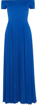 Alice + Olivia Alice Olivia - Ilaria Off-the-shoulder Stretch-jersey And Plissé-chiffon Dress - Blue