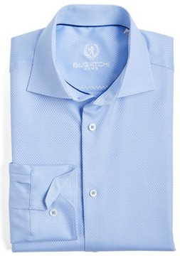 Bugatchi Men's Trim Fit Twill Check Dress Shirt