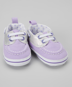 Luvable Friends Silver & Lilac Boat Shoe - Girls