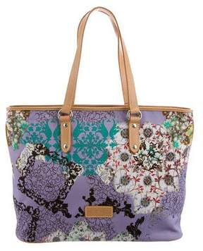 Etro Leather-Trimmed Printed Canvas Tote