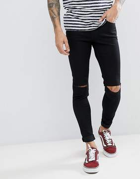 Cheap Monday Him Spray Ripped Super Skinny Jeans Cut Black