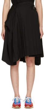 Comme des Garcons Black Wool Pleated Asymmetric Belt Skirt