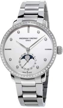 Frederique Constant Slimline Moonphase Silver Diamond Dial Automatic Men's Watch