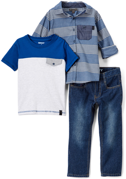 DKNY Dress Blues Layers Button-Up Set - Infant & Boys