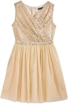 My Michelle Metallic Surplice-Bodice Dress, Big Girls (7-16)