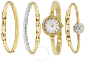 Anne Klein Mother of Pearl Dial Gold-tone Bangle Ladies Watch