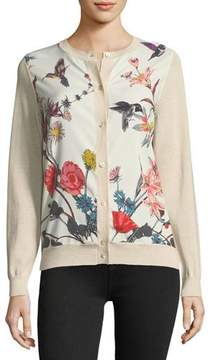 Neiman Marcus Floral-Print Silk-Panel Cardigan