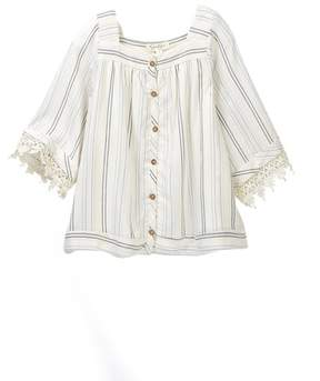 Jessica Simpson Boxy Metallic Striped Shirt (Little Girls)