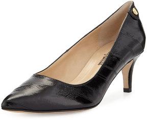 Neiman Marcus Stroll Pointed-Toe Eelskin Pump, Black