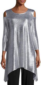 Caroline Rose Reflection-Knit Cold-Shoulder Tunic