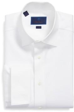 David Donahue Men's Trim Fit Solid French Cuff Tuxedo Shirt
