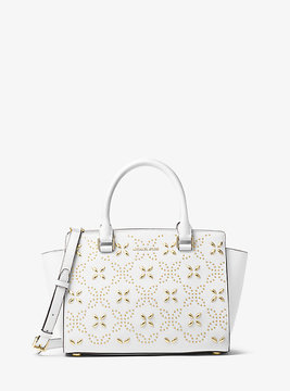 Michael Kors Selma Medium Studded Saffiano Leather Messenger - WHITE - STYLE