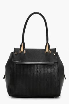 boohoo Holly Zip And Hardware Detail Textured Tote