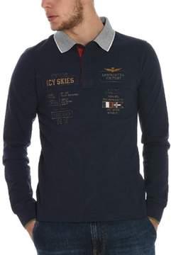 Aeronautica Militare Men's Blue Cotton Polo Shirt.