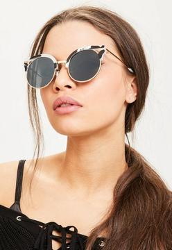 Missguided Black Mono Cut Out Frame Sunglasses