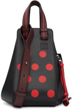 Loewe Black and Red Small Circles Hammock Bag