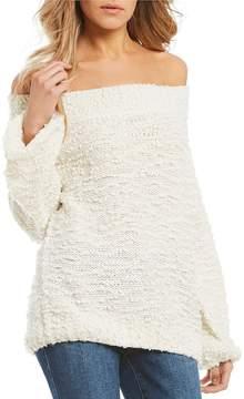Billabong Furget Me Not Wubby Off-The-Shoulder Bell Sleeve Sweater