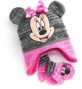 Disney Disney's Minnie Mouse Toddler Girl 3D Ears Trapper Hat & Mittens Set