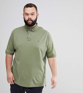Tommy Hilfiger PLUS Regular Fit Pique Polo Flag Logo in Green