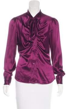 Blumarine Silk Long Sleeve Top