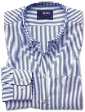 Charles Tyrwhitt Extra Slim Fit Button-Down Non-Iron Oxford Bengal Stripe Royal Blue Cotton Casual Shirt Single Cuff Size Large