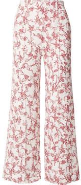 Emilia Wickstead Hullinie Floral-print Crepe Wide-leg Pants - Red