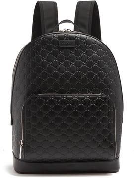 Gucci Logo-debossed leather backpack