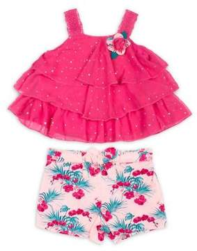 Little Lass Little Girl's Two-Piece Chiffon Tiered Ruffle Top and Floral Shorts Set